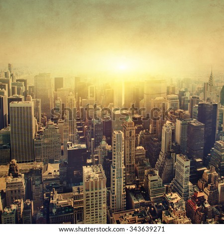 Grunge image of New York City Manhattan skyline at sunset. - stock photo