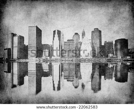 grunge image of new york skyline - stock photo