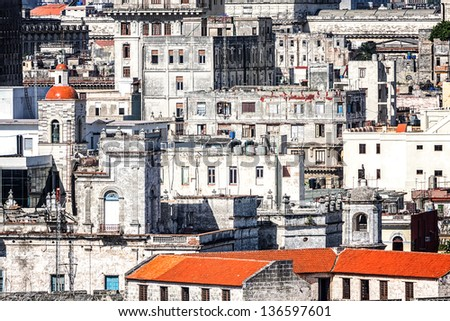 Grunge image of old decaying buildings in Havana - stock photo