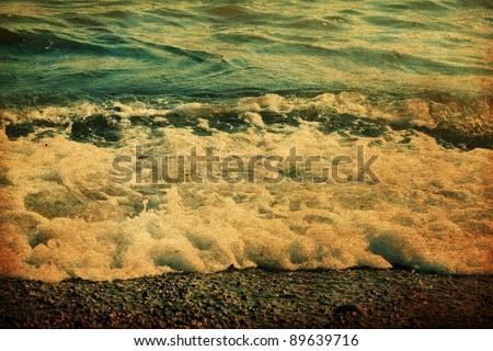 grunge image of sea, sea foam - stock photo