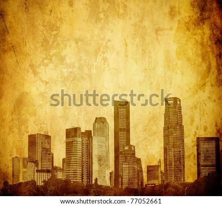 grunge image of singapore skyline