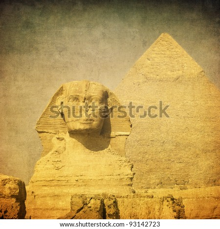 grunge image of sphinx and pyramid - stock photo