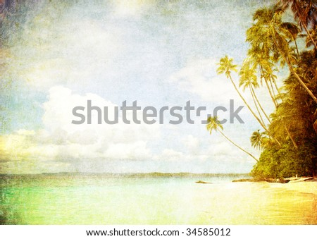 grunge image of tropical beach - stock photo