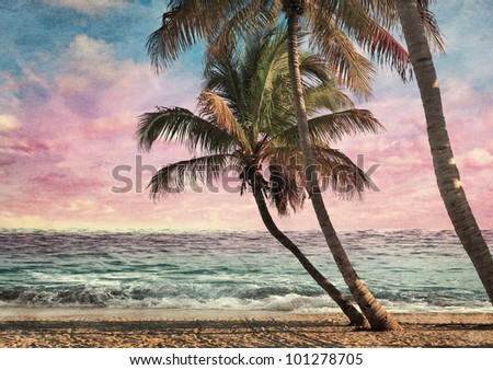 Grunge Image Of Tropical Beach At Sunset - stock photo