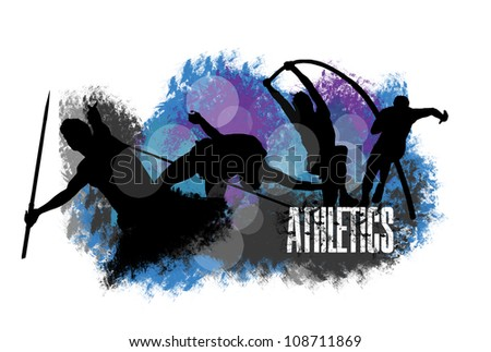 Grunge image with text,athletes silhouettes and multicolor abstract background - stock photo