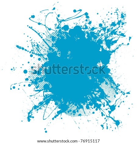 Grunge ink splat background blob with halftone dots - stock photo
