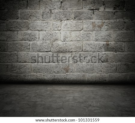 grunge interior,old brick wall - stock photo
