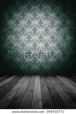 grunge interior room with beautiful wallpaper.