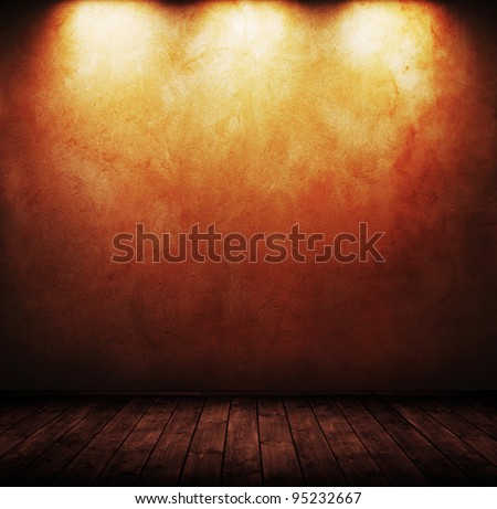 grunge interior room with three spots used as background. - stock photo