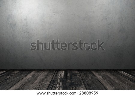Grunge interior with concrete wall - stock photo
