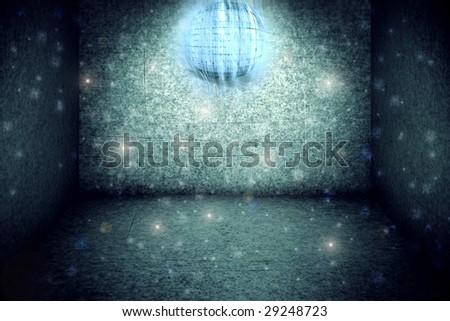 grunge interior with disco ball - stock photo