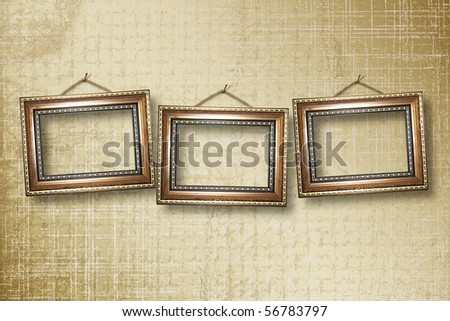 grunge  interior with frames in style baroque - stock photo