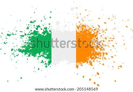 Grunge Irish ink splattered flag  - stock photo