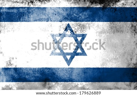Grunge Israel Flag on dirty paper  - stock photo