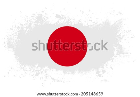 Grunge japanese ink splattered flag