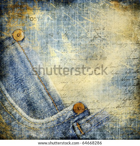 grunge jeans paper with pocket border - stock photo