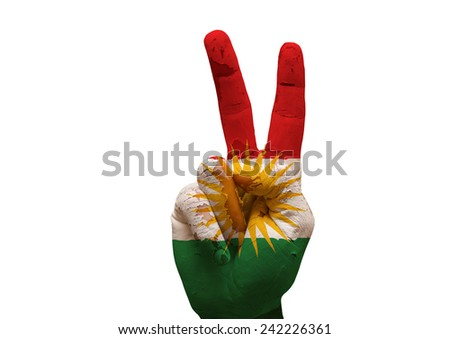 grunge Kurdistan flag painted hand making the V sign isolated over white background - stock photo