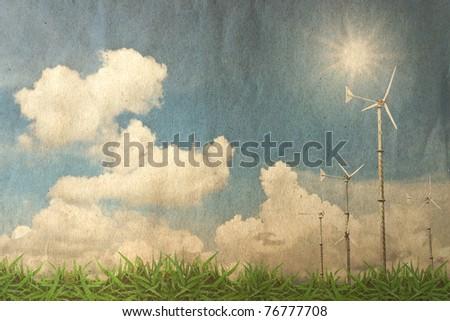 Grunge landscape background - stock photo