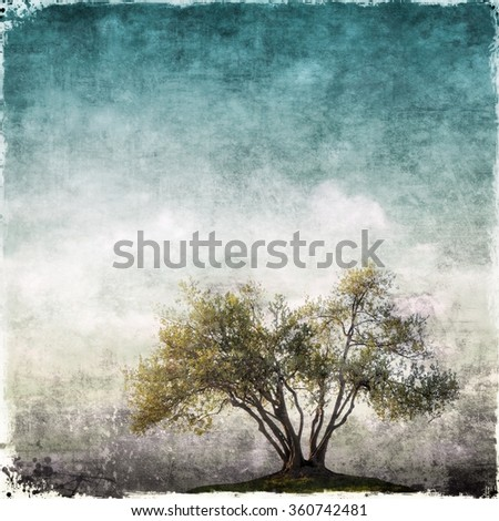 Grunge landscape with single tree - stock photo