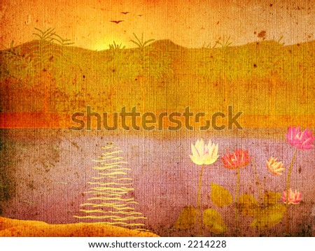 grunge landscape with waterlily on lake at sunrise - stock photo