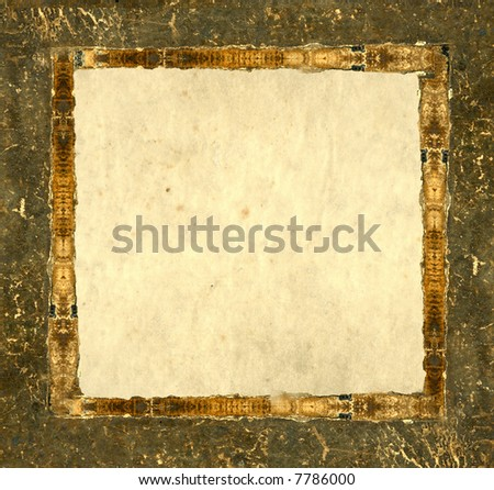 Grunge leather picture frame - stock photo