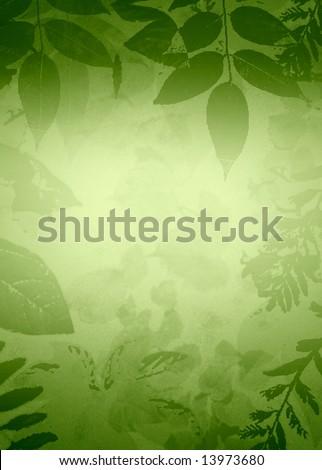Grunge Leaves Vignette - stock photo