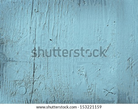 Grunge light blue painted wooden textured background - stock photo
