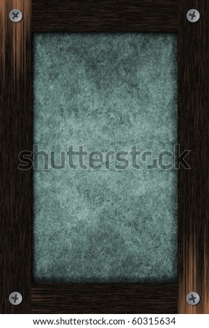 Grunge light blue paper framed by wooden frame
