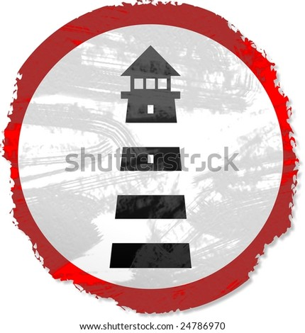grunge lighthouse sign - stock photo