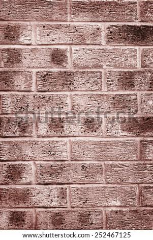 Grunge look clay brick wall brown - stock photo