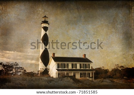 Grunge look with texture on Cape Lookout Lighthouse with it's diamond design, on the outer banks of North Carolina, USA. - stock photo