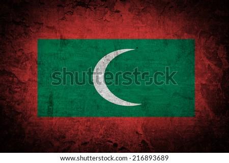 Grunge Maldives flag - stock photo