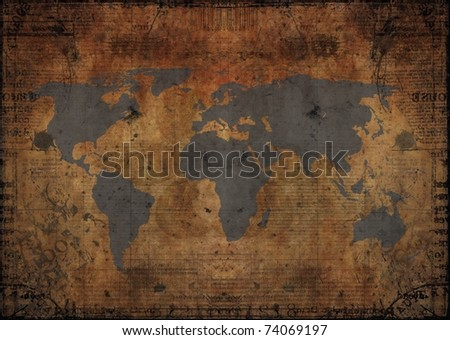 grunge map design - stock photo