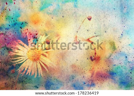 grunge messy artwork with small chamomile and watercolor splashes - stock photo
