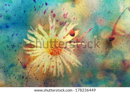 grunge messy artwork with small cute chamomile - stock photo