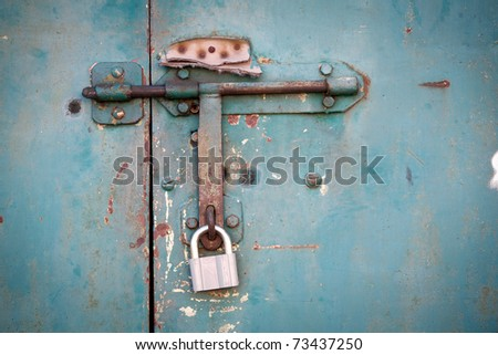grunge metal door - stock photo
