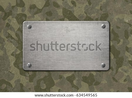 Grunge metal plaque with military camouflage 3d illustration