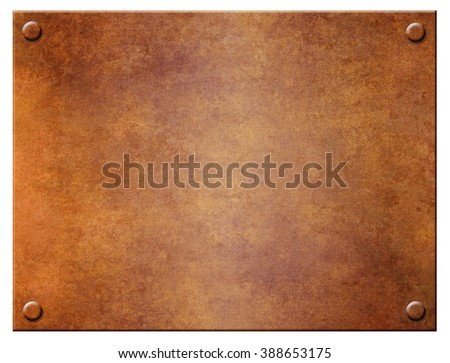 Grunge metal plate with rivets on a white background - stock photo