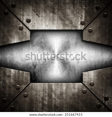 grunge metal template background - stock photo