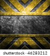 grunge metal template (in yellow and black colors) - stock vector