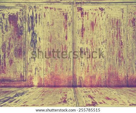 grunge metallic interior, retro filtered, instagram style - stock photo