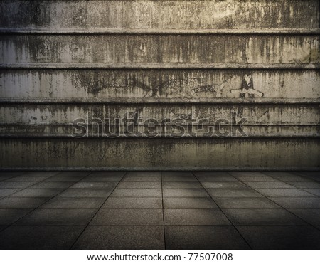 grunge metallic interior, urban background - stock photo