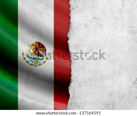 Grunge Mexico flag with paper frame - stock photo