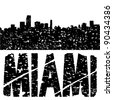 Grunge Miami skyline with text illustration - stock vector