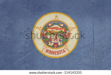 Grunge Minnesota state flag of America, isolated on white background. - stock photo