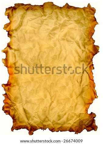grunge mint yellow paper isolated over white background - stock photo