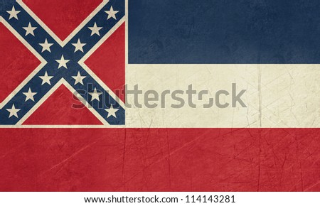 Grunge Mississippi state flag of America, isolated on white background.