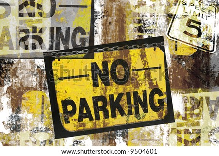 Grunge Montage Design of Photographed No Parking and Speed Limit 5 Signs - stock photo