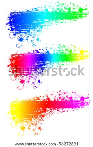 Grunge multi-colored banner with Splash of water colors on a white background - stock photo