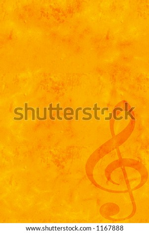 Grunge Music Backdrop with Treble Clef - stock photo
